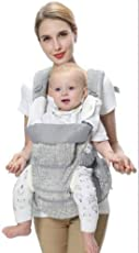 8 in 1 360 Degree Organic Ergonomic Baby Carrier, All carry positions child sling with hip seat, New born Infant Toddler, All in one Premium light weight portable Organic cotton baby carrier backpack infant wrap with detachable hoodie, head supporter, detachable hip wrap - Easily adjustable breathable mesh safe and comfortable for Child, Mom and Dad-Great for baby shower gifting.