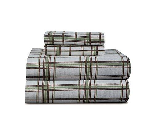 pointhaven schwere Sage Plaid Gedruckt Flanell Blatt Set, baumwolle, Brown/Green/White, Queen Sheet Set -