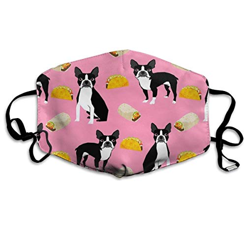Boston Terrier Tacos, Food, Face Masks Breathable Dust Filter Masks Mouth Cover Masks with Elastic Ear Loop Food Loop