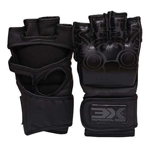 Professional Choice 3X Grappling Gloves Pro Leather Gloves Muay Thai Kick Boxing MMA UFC Martial Arts Training Sparring Punch Bag Fight Grappling (Musashi Series Black, L/XL)