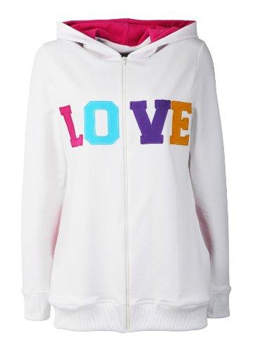 Be-mama! umstandspullover-sweat-shirt à capuche umstandsshirt, modèle lOVE Blanc - blanc