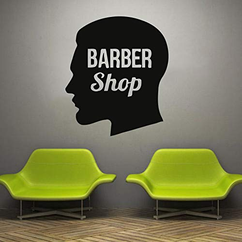 haotong11 Wandtattoo Aufkleber Mann Barbershop Kommode Herren Logo Stil Mann Gesicht Bart Schnurrbart Fenster Vinyl Aufkleber wasserdicht 57 * 66 cm