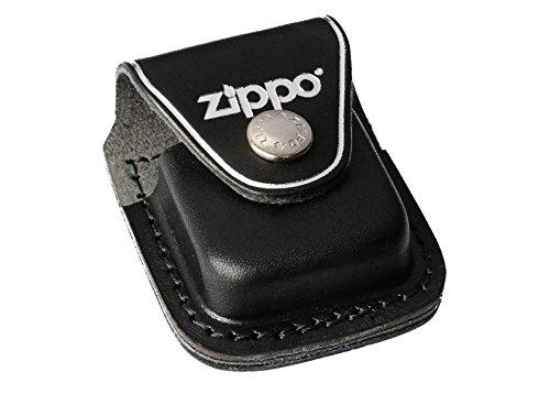 Zippo 16762 Ledertasche Clip - Pouch with Feuerzeug, Chrom, schwarz