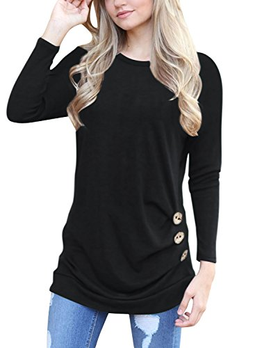 Bequemer Laden Damen Shirt Bluse Langarm Tunika Rundhals Lose Casual T-Shirt Tops mit Bohemian Bedruckte Ärmel