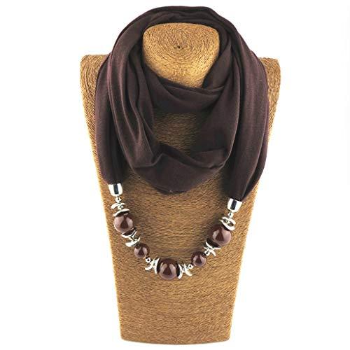 Jagenie womens fashion neckerchief ring sciarpa collane perline scialle di gioielli in tinta unita 8