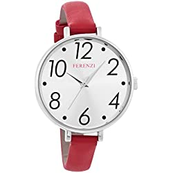 Ferenzi Women's   Large Modern Easy Read Silver Face Thin Red Band Watch   FZ16101