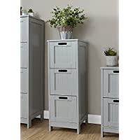 Home Source Colonial Bathroom Slim 3 Chest of Drawers Cabinet Tong & Groove Effect - Grey