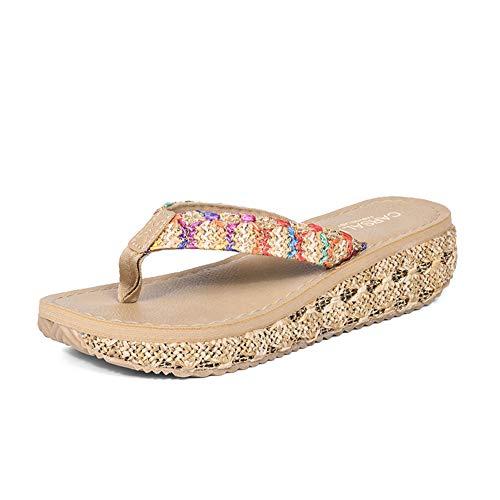 Frauen Rattan Gras Flip Flops mit Keilabsatz-Plattform-Sandelholz-Strand-Ferien Thongs Sandals Sommer Outdoor-Hausschuhe Plattform Thong Sandal