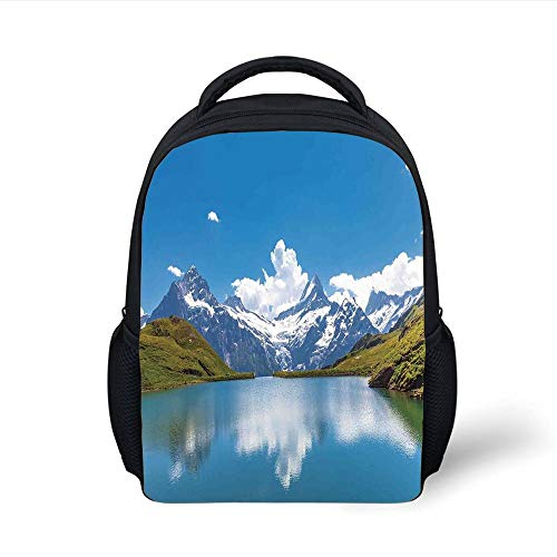 Kids School Backpack Lake House Decor,Dreamy View of Alpine Lake with Snow Frozen Peaks Swiss Northern Explore Photo,Blue Green White Plain Bookbag Travel Daypack