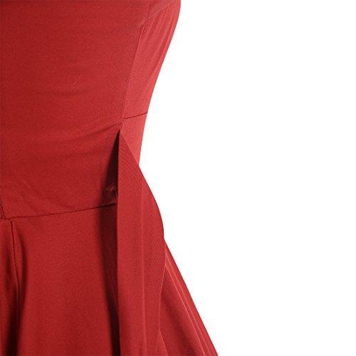 Find Dress Vintage années 50 's Style Audrey Hepburn Rockabilly Swing, Licou,robe de soirée cocktail Jupes Buste Dart Swing Classique Fete de Princesse Rouge3