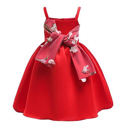 QJKai Blumenkind Kleid Rock Princess Riemen geblümten Kleid Kleid