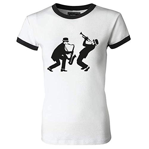 Sax and Trumpeter Ringer T Shirt for Women