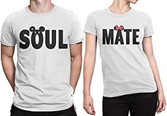 Dressify Couple t-Shirt - Soul Mate (Men - Large and Women - Small)