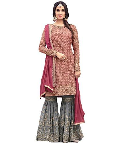 FKART Rose Grey Color Latest Designer Party Wear, Traditional Anarkali Salwar Suit/...
