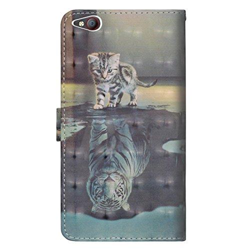 sinogoods Für ZTE Nubia M2 Lite Hülle, Premium PU Leder Schutztasche Klappetui Brieftasche Handyhülle, Standfunktion Flip Wallet Case Cover - Katze Tiger