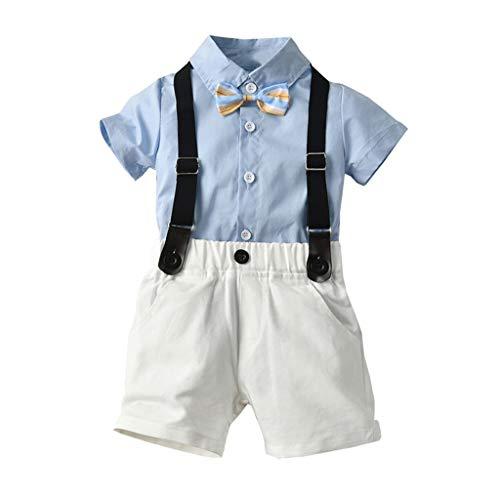 Pwtchenty Sommer Kinder Kleidung Kleinkind Baby Boys Gentleman Fliege Volltonfarbe T-Shirt Tops + Shorts Overalls Outfits Festliche Taufe Hochzeit Für Jungen Bekleidungssets Tuxedo-overall