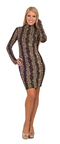Womens Bodycon Formal Seamless Glitter Printed Turtleneck Long Sleeve Mini Dress