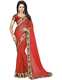 Krishna Emporia Women's Party Wear Georgette Saree With Blouse Piece (KE Saree 273, Red,Free Size)