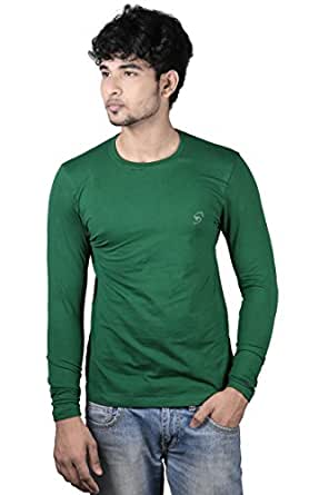 Full sleeve Men's round neck stretchable green t-shirt (X-Large)