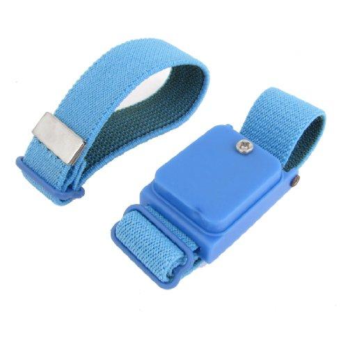 Tissu bleu extensible bracelet anti-statique dragonne sans fil