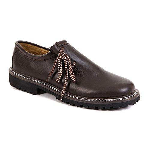 Almbock Trachtenschuhe Glatt-Leder Maron-braun - Größe 40 41 42 43 44 45 46, elegante Haferl-Schuhe für Herren, seitliche Schnürung, modern und cool (Leder Stiefel Herren Glatt)