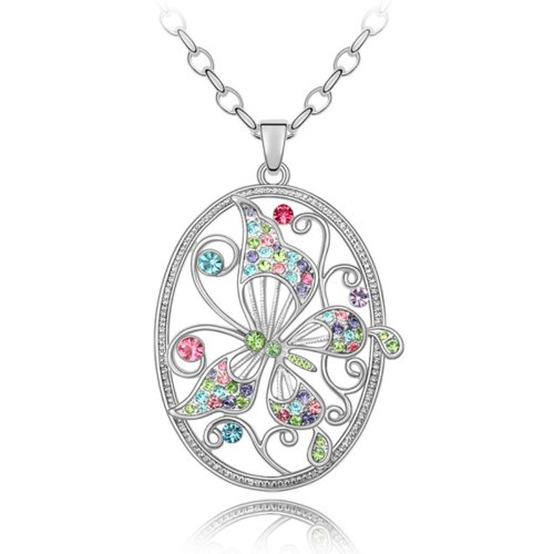 Clearance Sale-MARENJA Crystal-White Gold Plated Austrian Crystal Butterfly Pattern Medallion Pendant Long Necklace 60-65cm