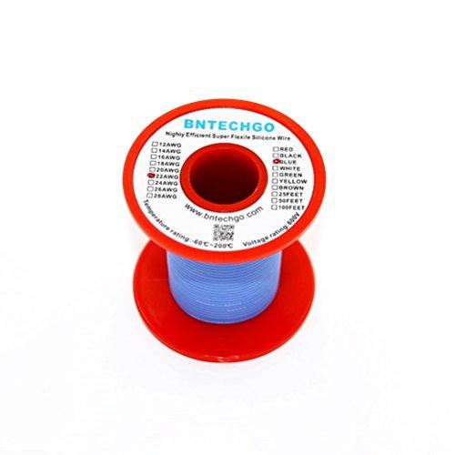 Bntechgo® 22gauge silicone Wire 50Feet blu morbido e flessibile 22awg silicone resistente alle alte temperature altamente efficiente 60fili di filo di rame stagnato