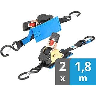 valonic Automatik Spanngurt | gepolstert | 2 Stück 1,8m | Spanngurte mit Haken | Ratsche | schwarz | 25mm Gurtbreite | 300 kg nach EN12195-2 | Zurrgurt, Ladungssicherung Motorrad