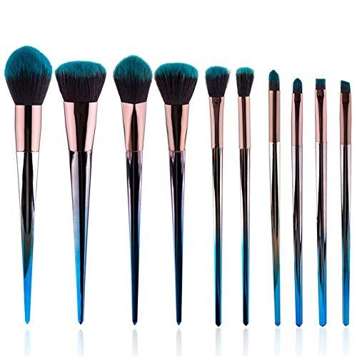 10-teiliges Set Of Makeup Brush Set, Gray Blue Gradient Diamond Handle Makeup Brush Advanced Synthetic Hair
