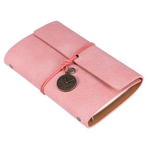 YeahiBaby Nachfüllbare Leder Journal Reisende Notebook handgefertigte Vintage Reisetagebuch mit Uhr Charme Sketchbook Planer Leere Seiten für Kinder Erwachsene (Pink) A6