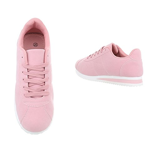 Sneakers Low Damenschuhe Sneakers Low Sneakers Schnürsenkel Ital-Design Freizeitschuhe Pink AB-187