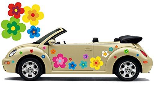 Hippie Blumen Aufkleber, Autoaufkleber Hippie 039 - bunt gemischt (26) (Blume Auto Aufkleber)