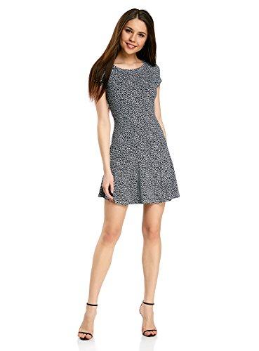 oodji Ultra Damen Jersey-Kleid mit Volants, Schwarz, DE 36 / EU 38 / S (Weiches Jersey-kleid)