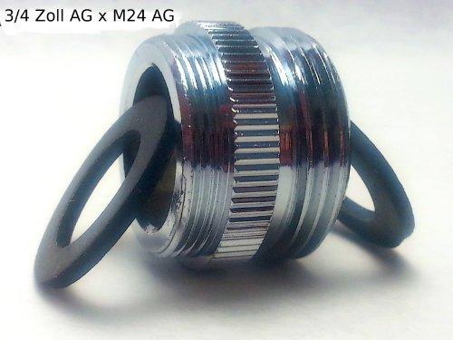 Preisvergleich Produktbild 3/4 Zoll AG x M24 AG, Gewindeadapter, Reduzierstück um z.B. einen Schlauch an ihren M24 Wasserhahn anzuschließen, inklusive 2 Dichtungsringe, extra stabile Ausführung