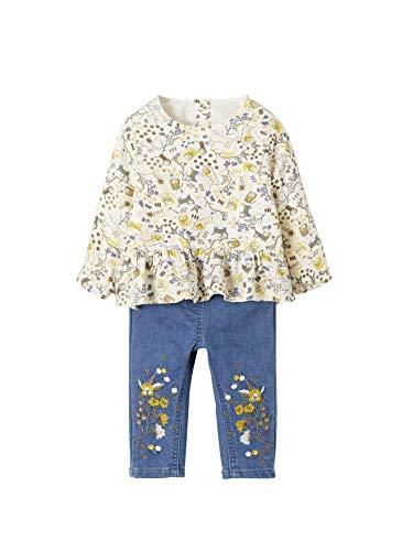 VERTBAUDET Ensemble bébé fille blouse imprimée jaguar et jean molleton  Imprimé denim 3M - 60CM 21a3f73b01e