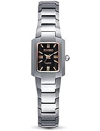 Time100 - Montre Quartz Couple pour Femme Carrée en Acier au Tungstène Miroir en Saphir de Luxe incrustée de Strass avec Dateur- W50109L.02A