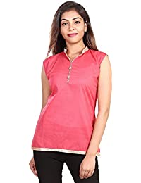 Fashion Store Women's Hand Embroidered Chicken Work Cotton Cambric Kurti (Pink , X-Large)