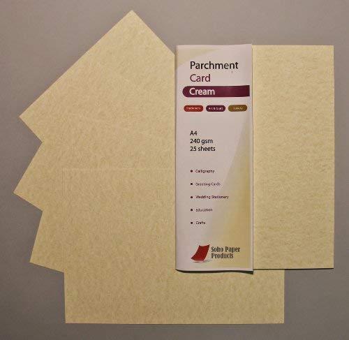 Carta da pergamena, colore crema, formato A4, 240 g/mq