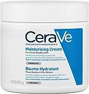 CeraVe, Crema Idratante, 454g / 16oz, Crema idratante quotidiana per viso, corpo e mani per un'idratazione