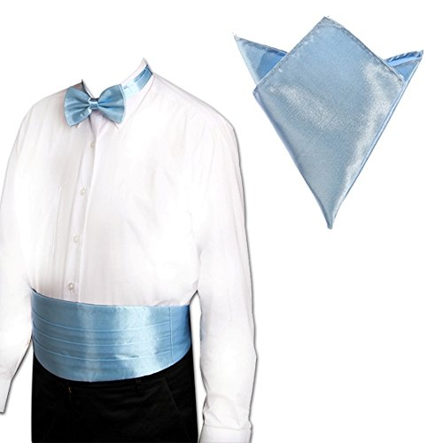 MultiWare Ensemble Ceinture De Smoking Noeud Papillon Mouchoir De Poche Bleu Clair