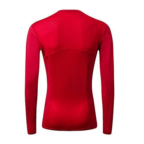 Sfit Femme T-shirts de Compression Sport Manches Longues Vêtements de Fitness Jogging Séchage Rapide Rouge
