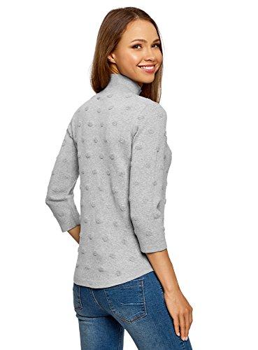 oodji Ultra Damen Strukturierter Pullover mit 3/4-Arm Grau (2300M)