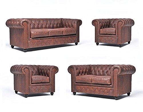Original Chesterfield Sofas und Sessel – 1 / 1 / 2 / 3 Sitzer – Vollständig Handgewaschenes Leder – Vintage Braun