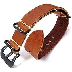 20mm MiLTAT G10 Grezzo Zulu leather watch strap Mahogany, PVD Black Hardware