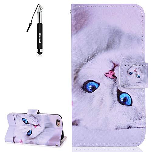 iPhone 6S Plus Hülle, iPhone 6 Plus Leder Tasche Huphant Weich Leder Muster Flip Schutzhülle Wallet Case Tasche Hülle für iPhone 6S Plus Handytasche Kartenfächer Magnet Taschen -Weiße Katze