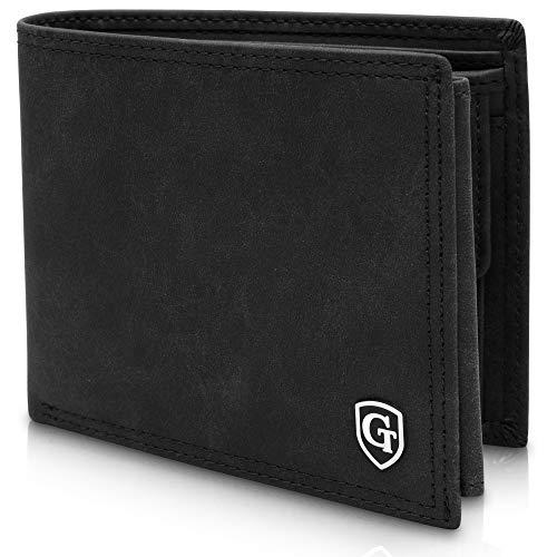GenTo® Herren Geldbörse Brooklyn im Querformat mit Münzfach - TÜV geprüfter RFID, NFC Schutz - Geldbeutel für Männer - erhältlich in 4 Farben | Design Germany (Schwarz - Soft)