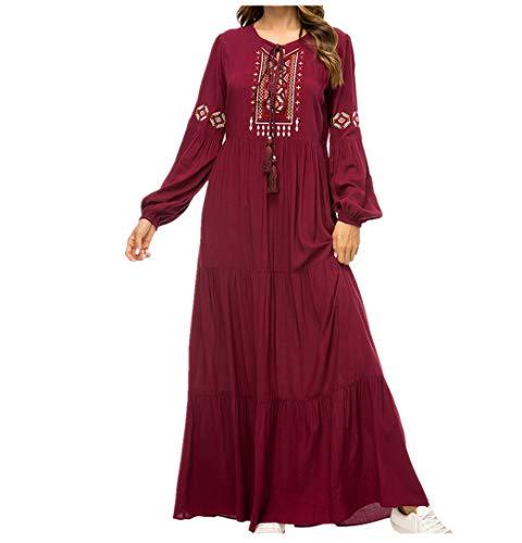 Mujer Musulmán Abaya Robe Kaftan - Dama Manga Larga Swing Vestido Maxi Tamaño Más Elegante Bordado Vestido de Coctail 4XL