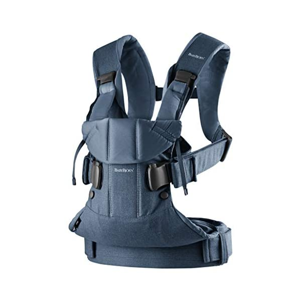 BABYBJÖRN Baby Carrier One, Cotton Mix, Classic Denim/Midnight Blue, 2018 Edition Baby Bjorn The latest version (2018) - now even more flexible and soft! Ergonomic baby carrier with excellent support. We recommend that you only start carrying your child on your back after the age of 12 months since this position does not offer the same degree of supervision 4 carrying positions: facing in (two height positions), facing out or on your back 2