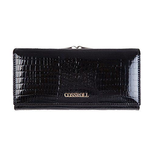 Handtasche Echtes Leder Damen Krokodil-Muster Weiche Brieftasche Womens Multi Color Flip Case Geldbörse Lange Kupplung Damen Hangbags,Black-OneSize -