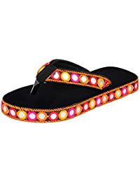Jodhpuri Lates New Design Black Flip Slipper For Ladies